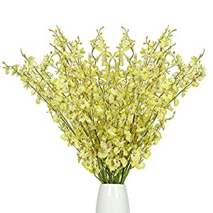 Nubry Artificial Orchids Flowers Fake Silk Dancing Lady Orchid Faux Long Stem Flowers 12Pcs in Bulk for Home Wedding Office Party Festive Indoor Outdoor Decoration