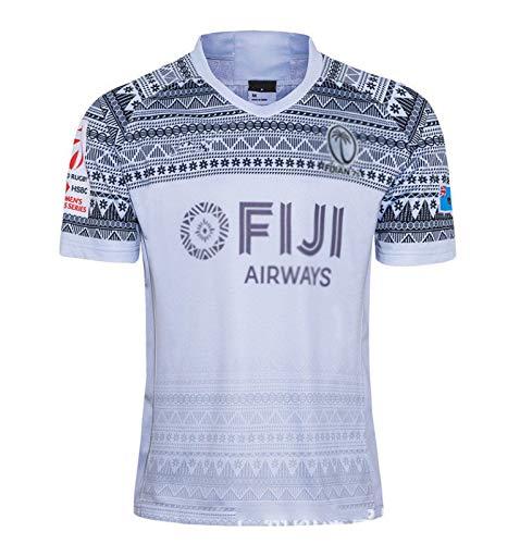DZTIZI 2020 Fiji Rùgby Jérsey Heimtraining T-Shirt Tägliche Aktivitäten Sport Kurzarm,White-M