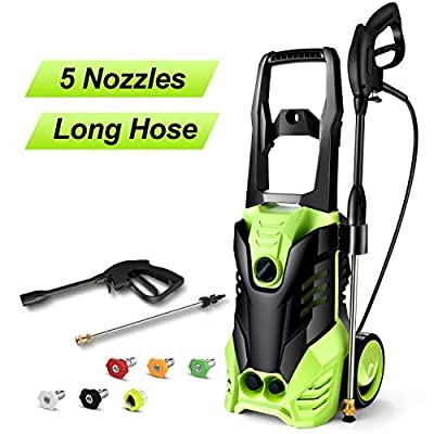 Homdox 2880 PSI Electric Pressure Washer 1800W High Pressure Power Washer Machine with Power Hose Gun Turbo Wand 5 Interchangeable Nozzles