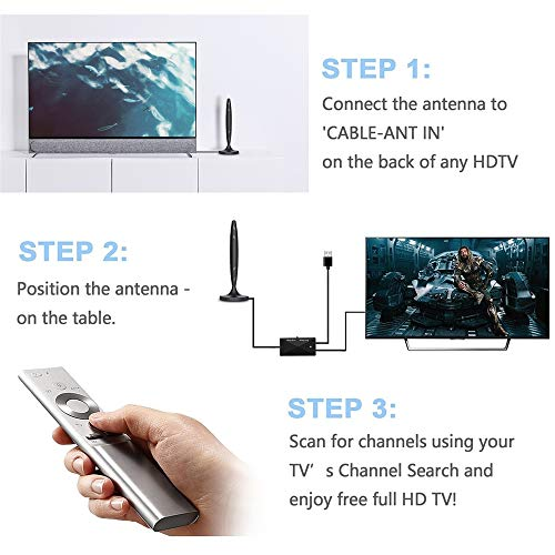 WeGuard TV Antenna - HDTV Antenna Support 4K 1080P, 90-120 Miles Range Digital Antenna for HDTV, VHF UHF Freeview Channels Antenna with Amplifier Signal Booster - 18 Ft Premium Coaxial Cable…