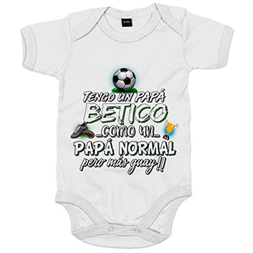 Body bebé tengo un papá Bético como un papá normal pero más guay - Blanco, 12-18 meses