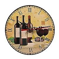5インチレトロ赤ワイン壁掛け時計、クォーツ木製サイレント非カチカチMdfフレームなしデザインユニークな卓上時計装飾オフィスカスタマイズ可能なサイズ2#12cm