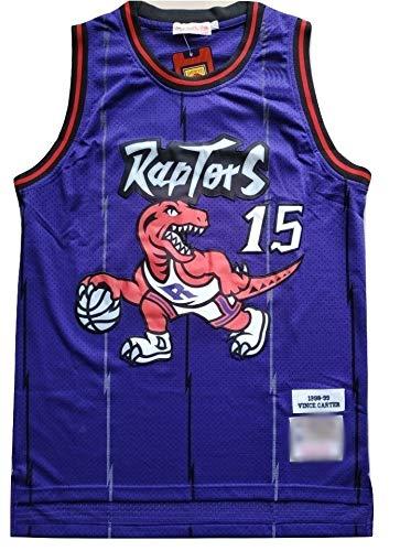 WOLFIRE WF Camiseta de Baloncesto para Hombre, NBA,Toronto Raptors #15 Vince Carter #1 Tracy McGrady Bordado, Transpirable y Resistente al Desgaste Camiseta para Fan Hardwood Classics (C Morado, XL)
