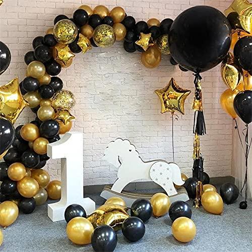 Huayong 112pcs Serie de Cadena de Globo de Serie Negro y Oro Temporada de graduación Decorar la Fiesta de la Fiesta de cumpleaños Decorar