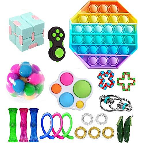 QCLU Juego de juguetes de Fidget, paquete de juguetes sensoriales de Fidget para niños y adultos, el autismo necesita el paquete de juguetes de alivio del estrés, el surtido de los juguetes especiales