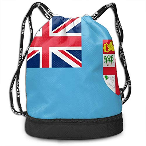 Rucksack 3D gedruckt gebündelten Rucksack, Flagge der Fidschi-Inseln Blue Drawstring Rucksack/Reisetasche,