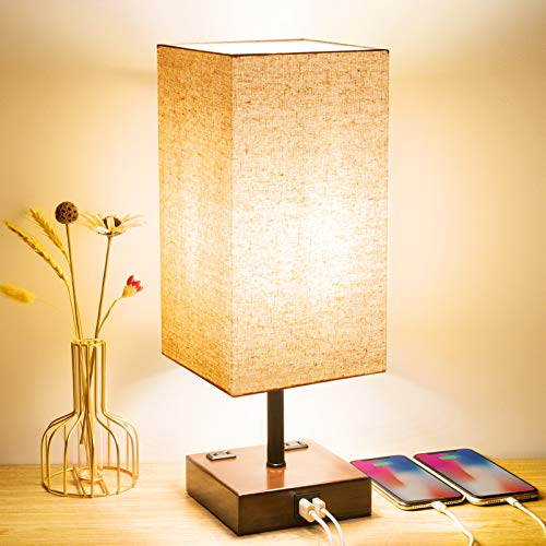 USB Table Lamp, 3-Way Dimmable Touch Control Lamp with 2 USB Charging Ports and 2 AC Outlets, Modern...