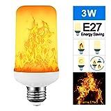 Donpow Luces de llama LED, Bombillas de Efecto de Llamas de 3W 4 modos, bombillas de efecto de llama E27 para decoraciones navideñas, bombilla de luz LED brillante para luz de porche