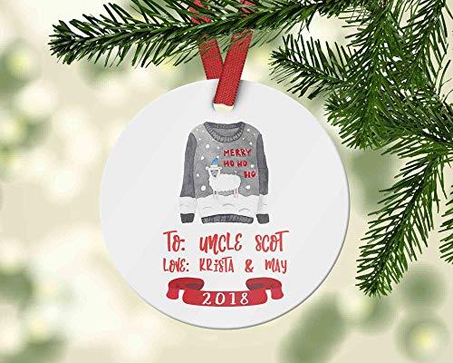 DKISEE Custom Oom Kerst Keramiek Ornament met Lelijke Trui - Gepersonaliseerde Naam Keramiek Ornament - Cadeau voor Uw Broeder Van De Kinderen - 2019 3.1 inch