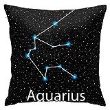 Asekngvo Constelación Signo del Zodiaco Acuario Funda de Almohada Cojín Funda Cuadrada Sofá Decorativo para el hogar 18 x 18 Pulgadas