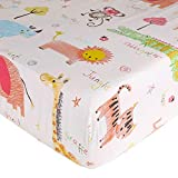Crib Sheet UOMNY 100% Cotton Fitted Crib Sheet Baby Sheet for Standard Crib and Toddler mattresses Nursery Bedding Sheet Crib Mattress Sheets for Boys and Girls 1 Pack Zoo Pattern Toddler Sheet