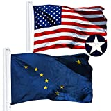 G128 Combo Pack: USA American Flag 3x5 Ft Embroidered Stars & Alaska State Flag 3x5 Ft Embroidered