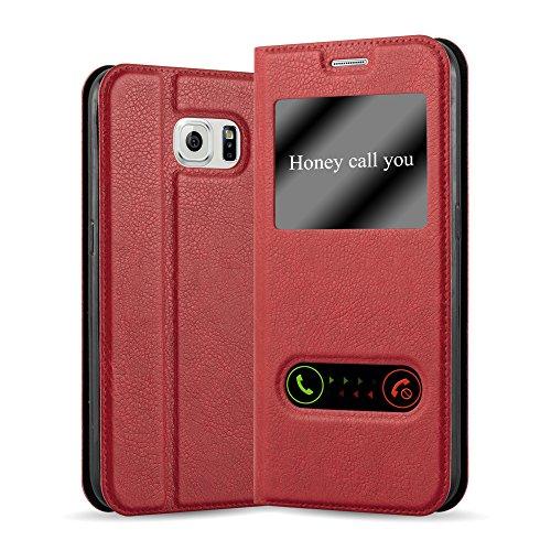 Cadorabo Hülle für Samsung Galaxy S6 in Safran ROT – Handyhülle mit Magnetverschluss, Standfunktion & 2 Sichtfenstern – Hülle Cover Schutzhülle Etui Tasche Book Klapp Style