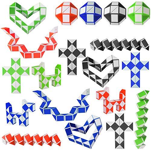 Kulannder 20 Pack de 24 Bloques Snake Cube, Mini Speed Cubes, Snake Twist Puzzle para Llenadores de Bolsos para Fiestas, Favores de Fiesta, Color Aleatorio