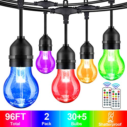 2-Pack 48FT Color Changing Outdoor String Lights, Dimmable RGB LED String Lights with 30+5 E26 Plastic Bulbs, Remote Control, IP65 Waterproof Commercial Grade for Patio, Backyard, Garden, Party