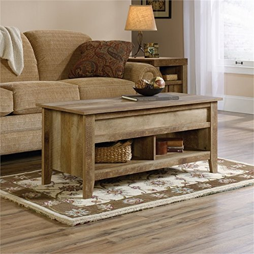 Pemberly Row Wood Lift Top Coffee Table in Craftsman Oak with Hidden Compartment, Living Room Furniture