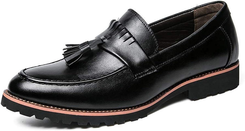 GLSHI Men Casual shoes Fashion Tassels Slip On Nightclub Leather Stylist shoes