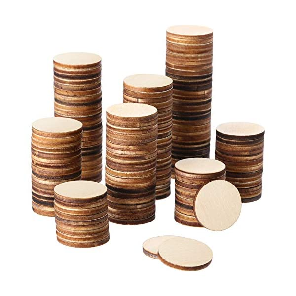 Boao 1 Inch Unfinished Wood Slices Round Disc