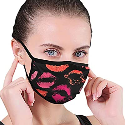 Masks Beautiful Red And Pink Lips Prints On Black Background Face Mask Unisex Cotton Mask