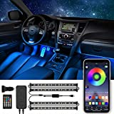 Interior Car Lights Car LED Strip Light Interior Two-Line Design Waterproof 4pcs 48 LED APP Controller Car Interior Lights Sync with Music DC 12V