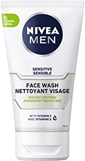 NIVEA MEN Sensitive Skin Face Wash (150 ml), Mild Soap Free Cleanser with No Drying Alcohol, Mens Face Wash Enriched with ...