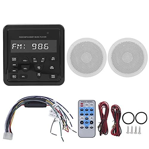 aqxreight Marine Audio Systeem, Marine Audio Receiver Speaker Set Bluetooth Speler Waterdicht MP3 Radio Stereo Systeem…