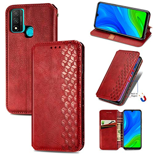 Bear Village Hülle für Huawei P Smart 2020 / Nova Lite 3 Plus, PU Leder Flip Handyhülle für Huawei P Smart 2020 / Nova Lite 3 Plus, Brieftasche Schutzhülle mit Standfunktion & Kartenfächer, Rot