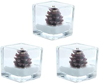 Amosfun 3pcs Christmas Tealight Candles Pine Cone Candles Christmas Dinner Table Decorations