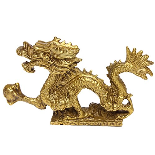Handmade Magical and Noble Brass Azure Dragon Figurine Home Decoration