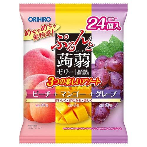 オリヒロ ぷるんと蒟蒻ゼリー ピーチ+マンゴー+グレープ 20gパウチ×24個×12袋入×(2ケース)