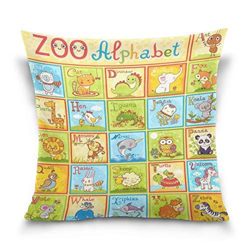 lucies Kissenbezug dekorativ Kissenbezug Quadratischer Kissenbezug, Kinder Englisch Tier Alphabet Schlafsofa Kissenbezug (18x18inch) Twin Sides