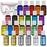 U.S. Cake Supply Deluxe 24 Bottle Airbrush Cake Color Set - The 22 Most Popular Colors in 0.7 fl....