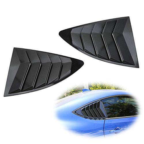 iJDMTOY Left/Right Gloss Carbon Fiber Finish Racing Style Rear Side Window Scoop Air Vent/Louver Shades Compatible With 2013-up Scion FR-S Subaru BRZ and Toyota 86