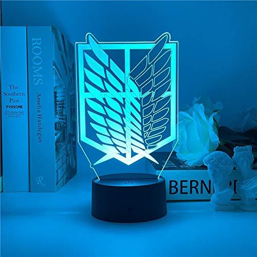 Luz nocturna LED 3D Attack on Titan Logo Anime Lámpara LED nocturna para niños dormitorio decoración cumpleaños regalo juguete Navidad escritorio lámpara de mesa 7 colores tocando