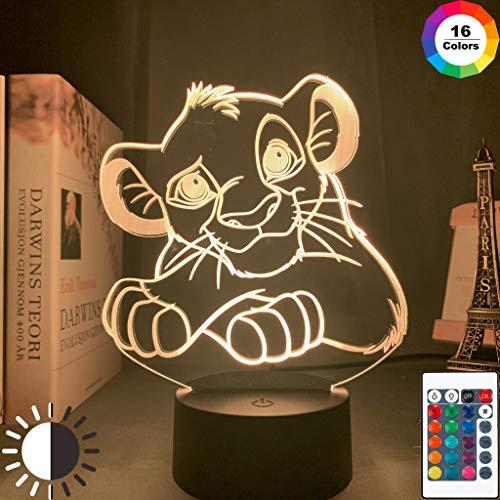 Der König der Löwen Simba Figur Acryl 3d Led Nachtlicht Lampe Cartoon Der König der Löwen für Kinder Schlafzimmer Dekor Nachtlicht RGB Buntes Baby Geschenk