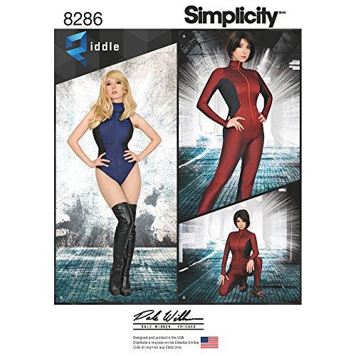Simplicity Muster 8286H5Schnittmuster Knit und Woven Jumpsuit und Gymnastikanzug Schnittmuster, weiß, Größen 6–8–10–12–14