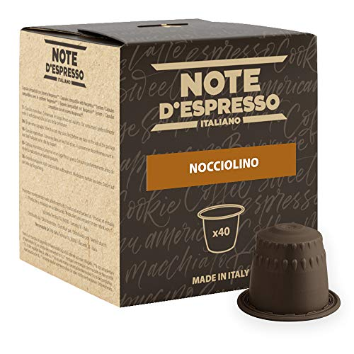 Note D\'Espresso Nocciolino Preparato Solubile per Bevanda al Gusto di Cappuccino alla Nocciola - 280 g (40 x 7 g) Esclusivamente Compatibili con le macchine per caffè a capsule Nespresso*