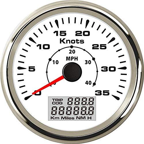 No-branded Odometer Spur 1pc 85mm GPS Speedometers 0-40MPH Marine GPS Geschwindigkeit Entfernungsmesser mit 8 Arten Farbe der Beleuchtung 0-35knots ZHQHYQHHX (Color : Weiß, Size : Kostenlos)