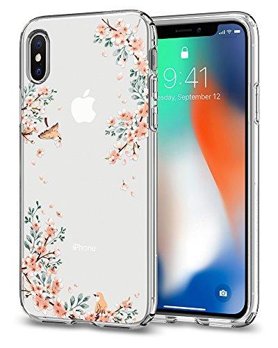 Spigen iPhone X Hülle [Liquid Crystal] Kirschenblüte Muster Silikon Handyhülle, Cherry Blossom Sakura Design Transparent Schutzhülle für iPhone X Case Cover - Blossom Nature