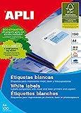 Apli paper 1281 etiquetas adhesivas blancas 100 h inkjet laser copy 210,0x297,0 100h de apli paper s. A. U
