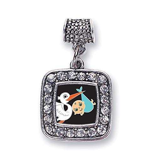 Inspired Silver - Stork Brings A Boy Memory Charm for Women - Silver Square Charm for Bracelet with Cubic Zirconia Jewelry