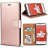 Bozon Huawei P10 Lite Hülle, Leder Tasche Handyhülle Flip Wallet Schutzhülle für Huawei P10 Lite mit Ständer & Kartenfächer/Magnetverschluss (Rose Gold)