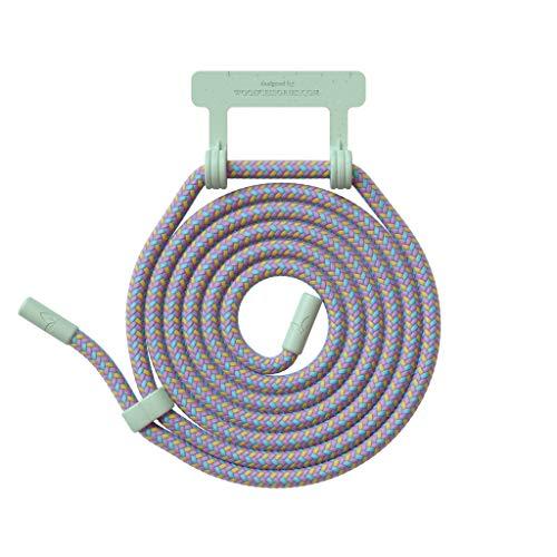 Woodcessories - Wechsel Kordel aus Oeko-TEX Baumwolle kompatibel Change Hülles - Nachhaltige Ersatz Handykette (Ocean Lila/Fassung Mint Grün)