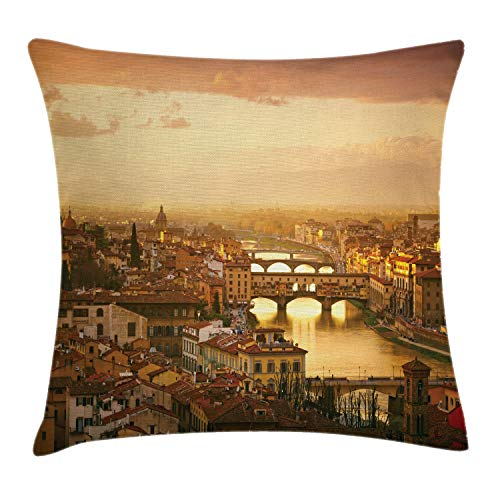Ambesonne Wanderlust Throw Pillow Cushion Cover, Bridge Ponte Vecchio Italy Bird Eye Sunset View Castle Houses Historic Cityscape, Decorative Square Accent Pillow Case, 20' X 20', Brown Yellow