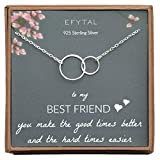 EFYTAL Best Friend Gifts, Sterling Silver Interlocking Infinity Circles Friendship Necklace Gift for Friends BFF
