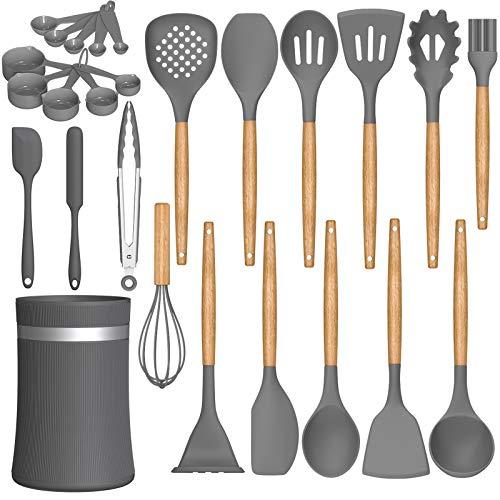26 Pcs Kitchen Cooking Utensils Set, AIKKIL Heat Resistant Silicone Cooking Kitchen Utensils Spatula Set with Holder, Wooden Handle Non-stick Silicone Kitchen Gadgets Utensil Set (Grey)