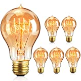 Iveoppe [6 paquetes] Bombilla Edison Vintage E27, 40 W, 220 – 240 V, lámpara decorativa retro bombilla globo G80, regulable, blanco cálido, clase energética A+