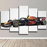 Lienzos decorativos Coche de carreras de Fórmula 1 F1-150x80 CM Cuadros Modernos Impresión de Imagen Artística Digitalizada Lienzo Decorativo Para Salón o Dormitorio 5 Piezas