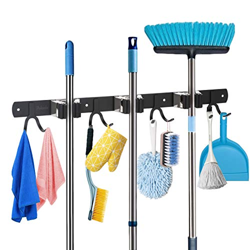 Poboola Mop Broom Holder Wall Mounted Organizer, 3 Slots 8 Hooks Garage Storage Rack Holds up to 11 Tools, Stainless Steel Shelving Hanger for Home Kitchen Bathroom Closet Office Garden (Black)