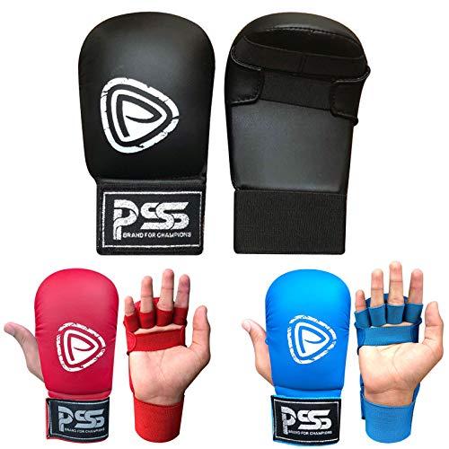 PSS Kinder Karate Kampfsport Training Handschuhe ohne Daumen Schwarz Blau Rot Farbe 1018, 1018 Black, XS